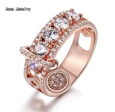 New Elegant Style Dazzling Stones Ring,Stainless Steel Metal in Pink Gold Color,Never Change Color.Women Fashion Zircons Ring