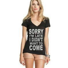 Late V-Neck Cute and funny V-neck! Size small, true to size.  Price is my lowest unless bundled! Thank you! Tops Tees - Short Sleeve