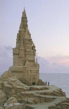 Tall sand castle sand art