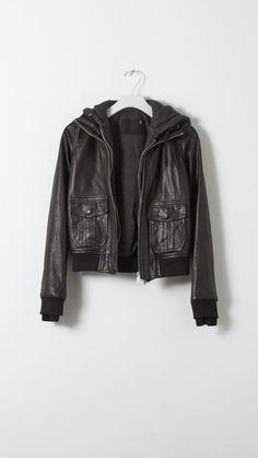 Hooded Flight Jacket in Black + Charcoal Knit Biker Leather, Lambskin Leather, Black Leather, Leather Jacket, Easy Wear, Tank Dress, Stay Warm, Hooded Sweatshirts, Hoods