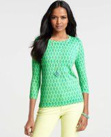 Deco Trellis Print 3/4 Sleeve Sweater - Be bold: a little or a lot, a vivid hue paired with a graphic geo print is always a bright idea. Crew neck. 3/4 sleeves. Ribbed neckline, cuffs and hem.