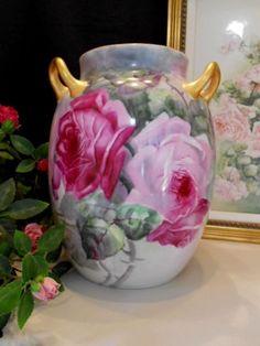Very Rare, LARGE Haviland Limoges 3 Handle Vase; Rich Roses