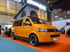 Orange VW T5 camper