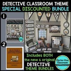 DETECTIVE / MYSTERY THEME Decor - 2 EDITABLE Clutter-Free Classroom Decor BUNDLE