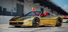 Golden Ferrari 458 Spider on Vellano Wheels   Autofluence