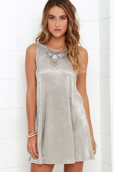 Stand out from the crowd in the No Less Than Luminous Gold Swing Dress! Eye-catching metallic stretch knit shapes a sleeveless swing dress with loose and flirty fit. Sexy Dresses, Nice Dresses, Fashion Dresses, Women's Fashion, Sleeveless Swing Dress, Sequin Dress, Hot Outfits, Classy Outfits, Classy Clothes