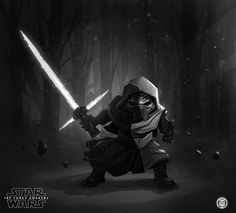 SPOILER ALERT:A long time ago, in a galaxy far far away, this creepy dude Kylo Ren has internal battles between the dark and the light side, not knowing who he is yet and trying to decide between his family and the legacy of Darth Vader. Creepy Dude, Star Wars Kylo Ren, Star Wars Fan Art, Far Away, The Darkest, Chibi, Darth Vader, Black And White, Stars