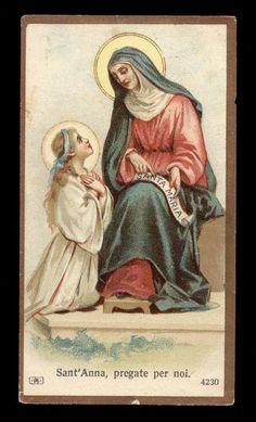 antico santino cromo-holy card S.ANNA salvardi