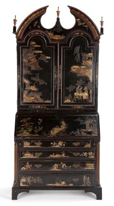 A GEORGE II STYLE JAPANNED BUREAU BOOKCASE .English 19th century and later.