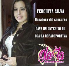 Ola-laropadeportiva, con FERCHITA SILVA.... la ganadora Oficial de nuestro concurso.... GANATE UN ENTERIZO DE OLA-LA ropa deportiva!  Ubicada en la ciudad de San Juan de Pasto/ Nariño,... FERCHITA ya es parte de nuestra familia FITNESS.  Mil felicitaciones!!!  http://www.ola-laropadeportiva.com  #Felicitaciones #Pasto #Nariño #Colombia #Concurso