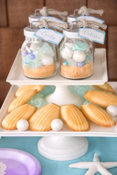 Shimmer white gumballs make the perfect pearls to go with the clam cookies! #BirthdayExpress