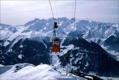 Attelas lift in Verbier, Switzerland Old Pictures, Cn Tower, Switzerland, Mountain, Old Photos