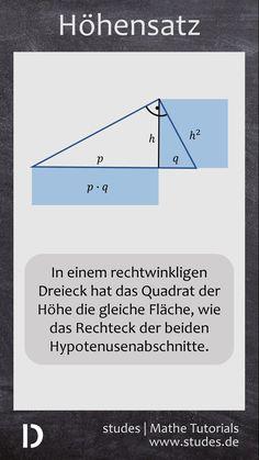 Der Höhensatz im rechtwinkligen Dreieck besagt, dass das Quadrat der Höhe genauso groß ist, wie das Produkt der beiden Hypotenusenabschnitte | Die ganze Erklärung auf studes.de  #Mathematik #Mathe #Dreieck #Höhensatz