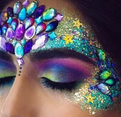 Glitter and jewel festival makeup