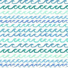 Watercolor ocean waves pattern by Abby Galloway