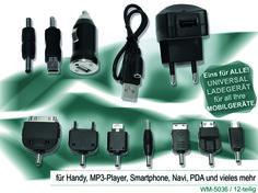 EINS FÜR ALLE! Dieses UNIVERSAL LADEGERÄT ist für all Ihre MOBILGERÄTE geeignet. Handy, Smartphone, MP3-Player, Navi, PDA und vieles mehr. Einfach genial!