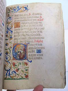 Livro De Horas c1450 Iluminado Pergaminho Leaf Antigos Manuscrito manuscritas Raro in Livros, Antiquário e colecionáveis | eBay