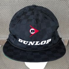 c6d2aad24f4 Vintage DUNLOP Racing Tires Sports Checkered Black Snapback Trucker Hat
