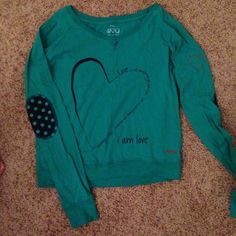 """Peace, Love, World Long sleeved Tee Peace, Love, World long sleeved Tee, """"I am love"""" quote, patched elbows, turquoise and navy blue, PLEASE MAKE OFFER/BUNDLE for further discount Peace Love World Tops Tees - Long Sleeve"""