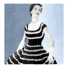 1950s Off Shoulder Dress Blouse Full Circle Skirt Peasant Patio Crochet Pattern PDF. $4.50, via Etsy.