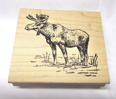 Rubber Hedgehog Moose rubber stamp Scenic nature wood mounted Outdoors animals #RubberHedgehog #Moose