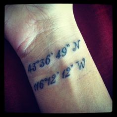 #coordinate #tattoo Idea for getting married...first date....first baby...etc.