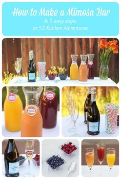 How to Make a Mimosa Bar in 3 Easy Steps. Great for Mother's Day brunch!