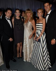 7/8/13.   A-list company: Kate posed alongside her actress mother Goldie Hawn, Muse frontman fiance Matt Bellamy and hosts Novak Djokovic and Jelena Ristic inside the event