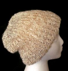 Taupe and Tan Knit Lion Brand Homespun Rococo Knit Beanie Hat  by ArtTx