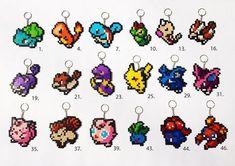 Pokemon Hama, Perler Bead Large Keyrings/Bag Charm: Generation original Pokemon - Perfect for Small Presents and Gifts! Hama Beads Pokemon, Diy Perler Beads, Perler Bead Art, Perler Bead Templates, Pearler Bead Patterns, Perler Patterns, Hamma Beads Ideas, Peler Beads, Iron Beads