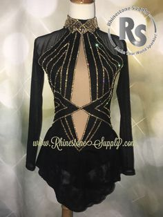 Custom beaded Brad Griffies Skating dress! We used Swarovski Golden Shadow and Silver Lining Rhinestones in Golden Honey & Jet Hematite www.RhinestoneSupply.com