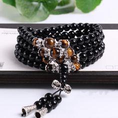 Fashion Black Color Tiger Eye Crystal Tibet Buddhist Buddha Meditation 108 Prayer Bead Mala Bracelet/Necklace Hot Sale