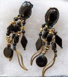 $2.01 - Black & Goldtone 5 'Leg' Earrings (12916-86 ER) fashion, jewelry #Unknown #DropDangle