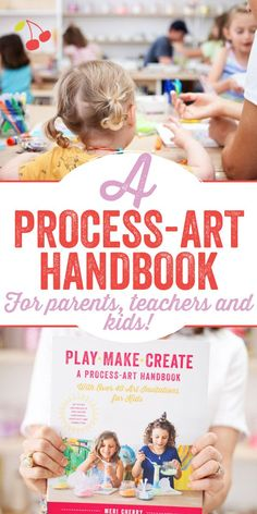 Packed with fun, engaging, and joyful art experiences. A Process Art Handbook is a simple yet powerful path to inspiration that focuses on the making and the doing, instead of the finished product. Learn to: How to connect with kids through art making, Over 40 art invitations for kids, Tons of tried and true project ideas that are simple, compelling, fun, New art making tips and techniques that will put you + your whole family in that wondrous creative flow. Great gift for parents or… Cool Art Projects, Craft Projects For Kids, Arts And Crafts Projects, Easy Projects, Project Ideas, Creative Activities For Kids, Art Activities, Virtual Class, Teacher Inspiration