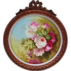 Breathtaking HUGE HAND PAINTED ROSES ~ OUTSTANDING HAND CARVED ANTIQUE FRENCH FRAME ~ Museum Quality Masterpiece Limoges France Stunning Still Life Painting on Porcelain ~ Magnificent Piece of Fine Art ~ Tressemann & Vogt Circa 1892 – 1907
