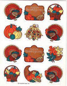 Stickers Vintage 2 Hallmark Happy Thanksgiving turkey,pumpkins,corn,leaves B4 31 #Hallmark