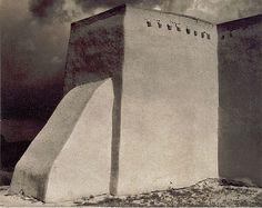 Photo by Paul Strand rear of Church, Ranchos de Taos, New Mexico. 1931