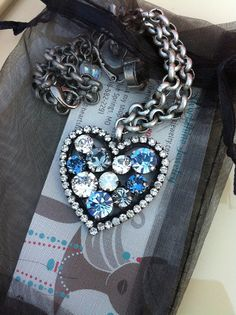Denim Colored Heart Pendant With Chain. by HeartshineJewelry, $49.00