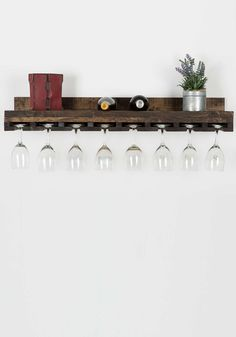 """36"""" Floating Pine Wine Glass Rack for 16 Glasses 