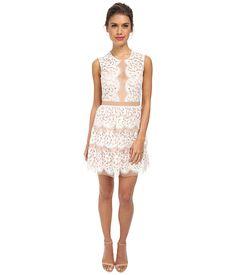 BCBGMAXAZRIA Sophea Sleeveless Lace Dress with Tier Off White - Zappos.com Free Shipping BOTH Ways