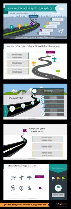 PowerPoint infographics for illustrating steps roadmaps plans and journeys in form of a curvy highway road towards a goal. Journey to Success Infographics with Direction Arrows; Simple Curved Roadmap with Icons; Roadmaps with a Goal; Powerpoint Design Templates, Dashboard Template, Booklet Design, Strategic Roadmap, Strategic Planning Template, Highway Road, Visual Metaphor, Journey Mapping, Timeline Design