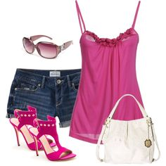 jean shorts and tank top by missyalexandra on Polyvore