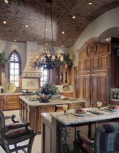 Tuscan Kitchen Style With Marble Countertop Kitchen Design Ideas