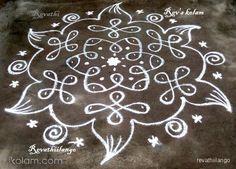 Rangoli 7 to 4 intermediate dots.: Rev's daily chikku white by revathiilango Simple Rangoli Border Designs, Rangoli Designs Latest, Rangoli Designs Flower, Free Hand Rangoli Design, Small Rangoli Design, Rangoli Patterns, Rangoli Ideas, Rangoli Designs Diwali, Rangoli Designs With Dots