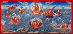 Arhats, ein Traumthangkas - Buddha Shakyamuni / 18 Arhats überqueren das Meer. Wertvolle buddhistische Thangkas, Statuen und Mandalas. Marvelous buddhist Statues, Mandala and Thangka from Snow Lion.