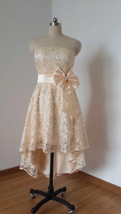 2015 Strapless Champagne Lace Short Front Long von DressCulture