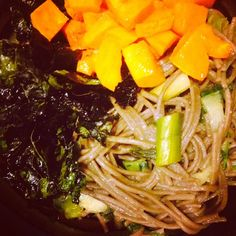 Debbie Adler's Soba Noodles with Pad Thai Miso/Sriracha Sauce with Scallions, Cilantro, Krispy Kale and Roasted Butternut Squash. #glutenfree #vegan #sugarfree