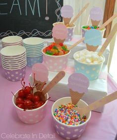 Birthday party themes ice cream ideasYou can find ice cream party and more on our website. Sundae Bar, First Birthday Parties, First Birthdays, Birthday Ideas, 3rd Birthday Party For Girls, Little Girl Birthday, Third Birthday, Pastell Party, Margarita Party
