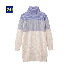 (GU) color block knit dress (long sleeve) THB 559.26