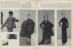 """Fall 1951 - """"Dior's new long line."""""""